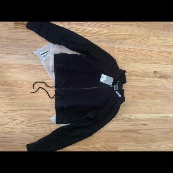 60becca75 Black True textured hooded bomber jacket NWT